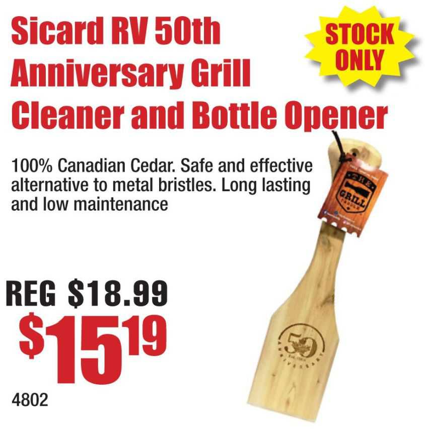 Sicard RV 50th Anniversary Cedar Scraper and Bottle Opener