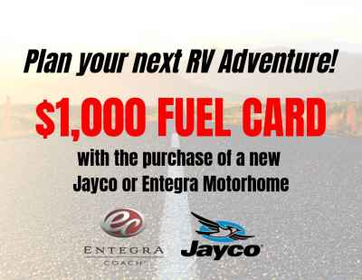 Post thumbnail for Get a $1,000 FUEL CARD on Jayco or Entegra Motorhomes